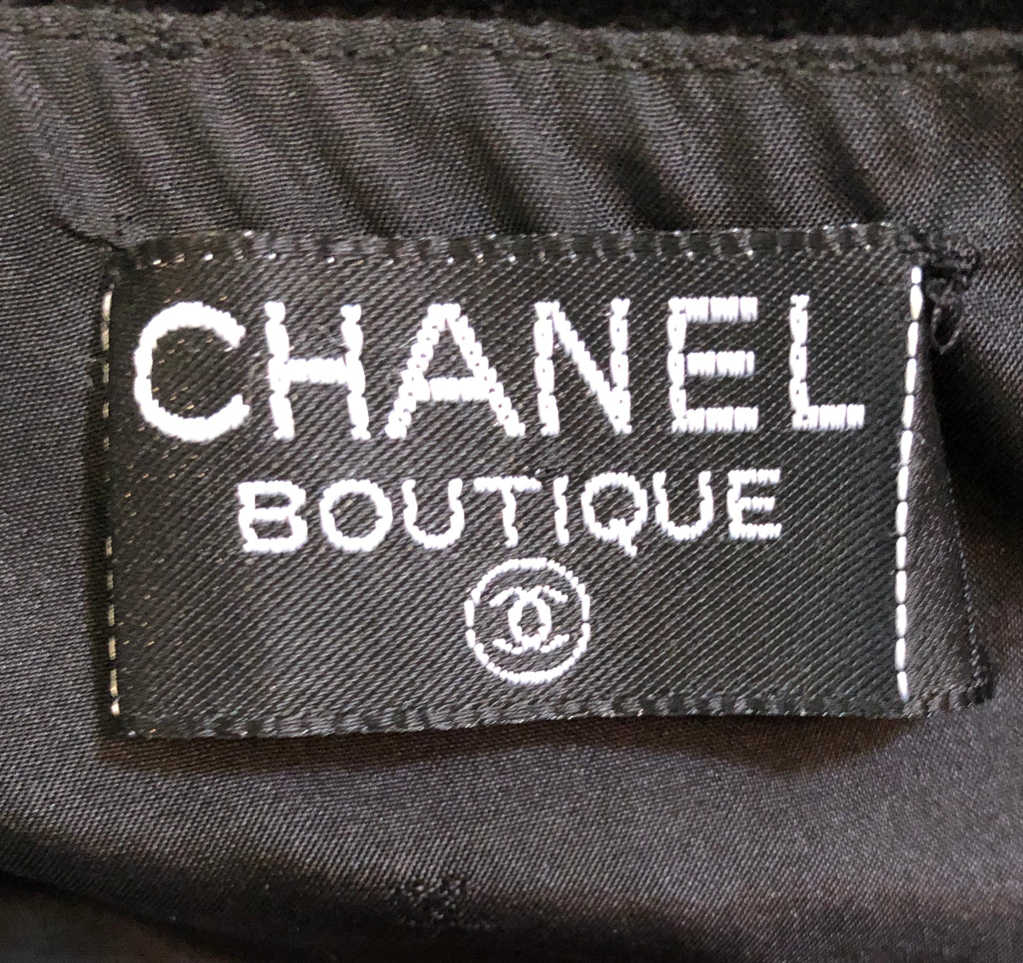 Chanel Black Velvet Mini Skirt with Gold Chain LABEL 4 of 4