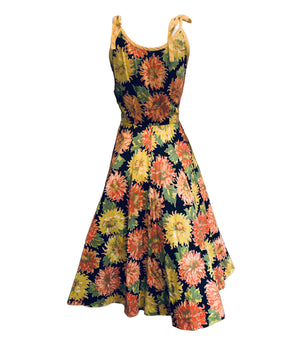 50s Cotton Summer Fit and Flare Dress with Mum Print BACK 2 of 5