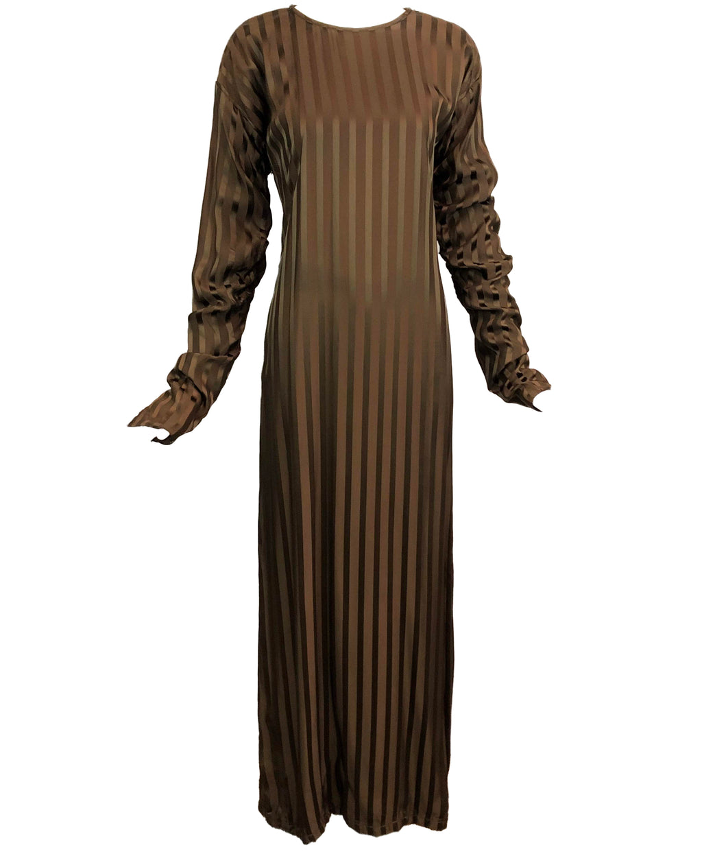 Jean Paul Gaultier 2000s Brown Silk Striped Maxi 1 of 5