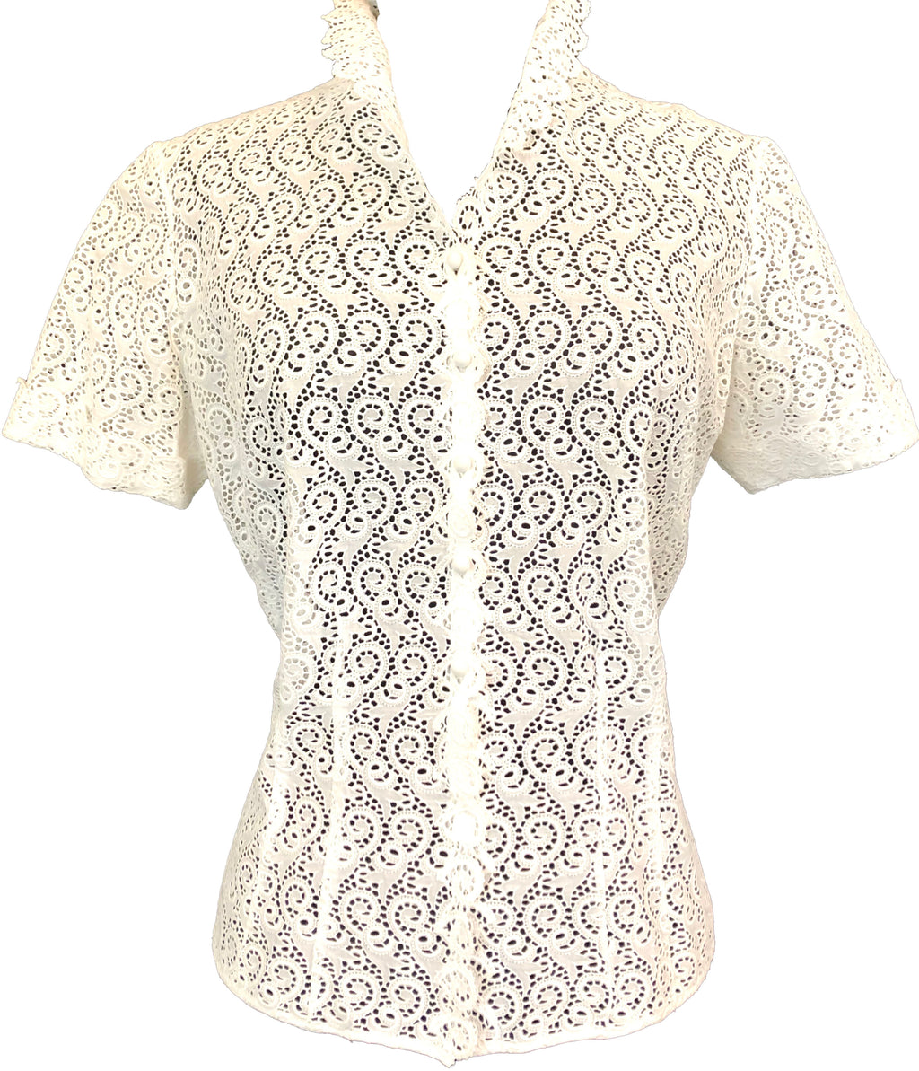 Sturzenegger 50s White Hand Embroidered Blouse FRONT 1 of 6