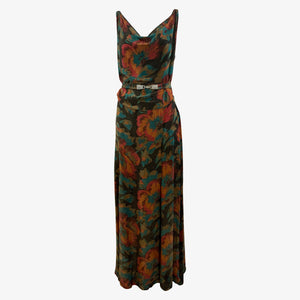 30s Autumnal Motif French Lame Bias gown