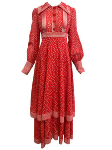 Jean Varon 70s Red Polka Dot Maxi Dress FRONT 1 of 5
