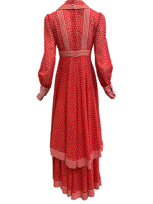 Jean Varon 70s Red Polka Dot Maxi Dress BACK 3 of 5
