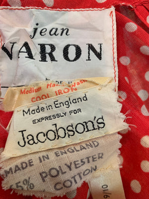 Jean Varon 70s Red Polka Dot Maxi Dress  LABEL 5 of 5