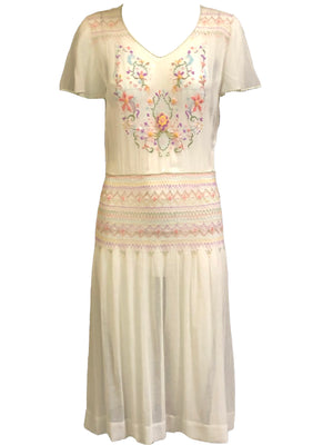 20s White Voile Embroidered Dress with Hand Smocking 1 of 7