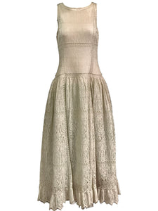 Chloe 90s White Lace Drop Waist Dress with Melon Underlay 1 of 6