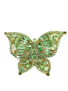 60s Pale Green Rhinestone Butterfly Brooch FRONT 1 of 3