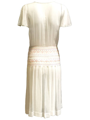20s White Voile Embroidered Dress with Hand Smocking 2 of 7