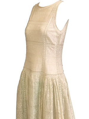 Chloe 90s White Lace Drop Waist Dress with Melon Underlay 4 of 6
