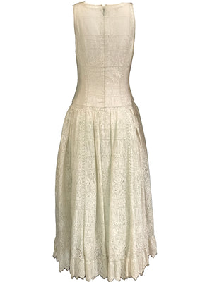 Chloe 90s White Lace Drop Waist Dress with Melon Underlay 3 of 6