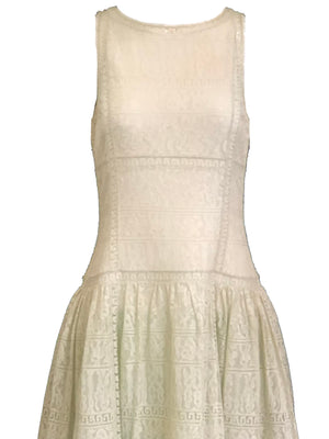 Chloe 90s White Lace Drop Waist Dress with Melon Underlay 5 of 6