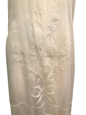 20s Dress White Cotton Voile with Delicate Embroidery and Lace trim DETAIL 3 of 4