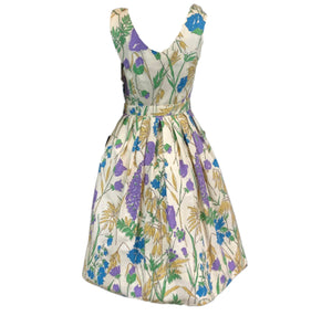 60s Floral Pique Summer Dress BACK 2 of 5