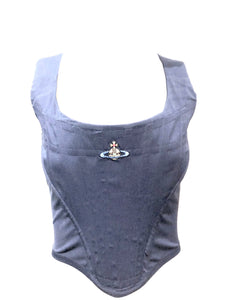 Vivienne Westwood Blue Corset Top with LogoVivienne Westwood Blue Corset Top with Logo FRONT 1 OF 4