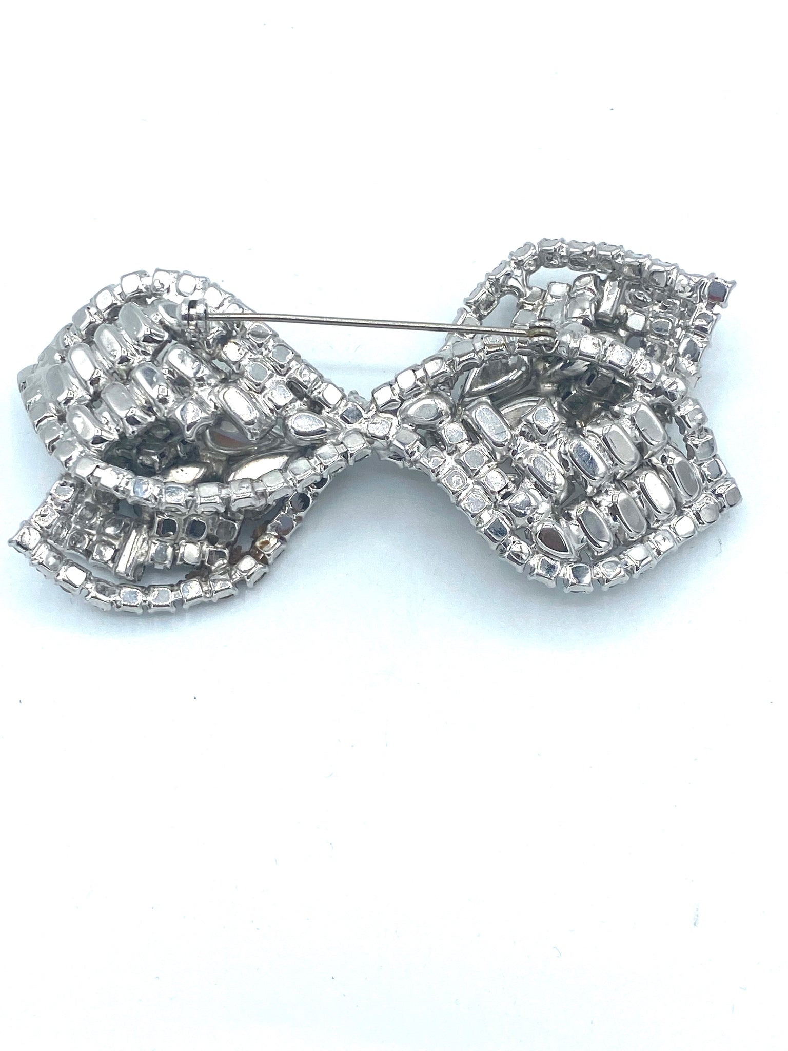 60s Large Rhinestone Bow Brooch