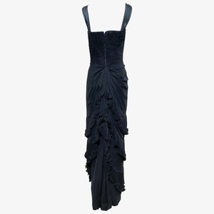 Eleanora Garnett 50s Black Chiffon Ruched and Ruffled Gown with Bolero BACK W/O JKT 3 of 6