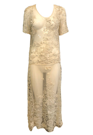 20s Dress Ivory Mesh with Lace with Incredible Embroidery FRONT 1 of 4