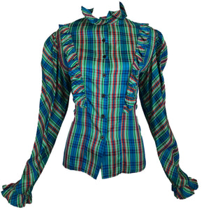 80s Blue Plaid Prairie Blouse with Leg o Mutton Sleeves FRONT 1 of 4