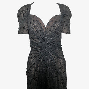 Arnold Scaasi 80s dress Black Chiffon Beaded and Embroidered Sexy Sheath FRONT 1 of 4