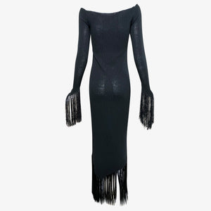 Giorgio Sant Angelo 70s Super Sexy Witchy Knit Fringed Dress BACK 2 of 3
