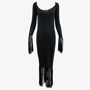 Giorgio Sant Angelo 70s Super Sexy Witchy Knit Fringed Dress FRONT 1 of 3