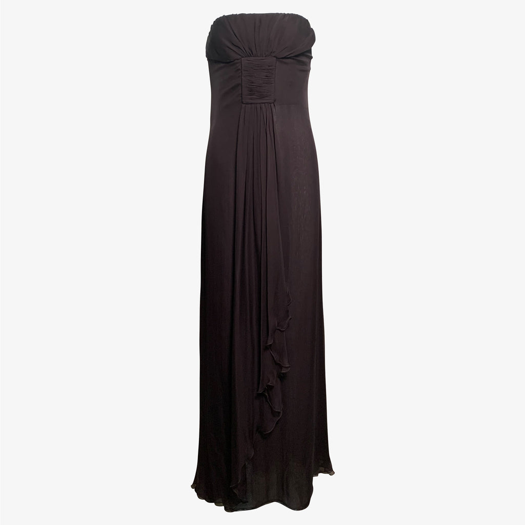 Valentino Chocolate  Brown Chiffon Strapless Gown