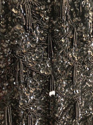 60s Black Beaded Cocktail Dress DETAIL 4 of 4