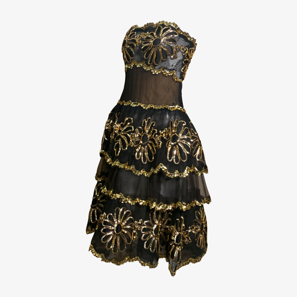 80s Black & Gold Sheer Strapless Embroidered Cocktail Dress