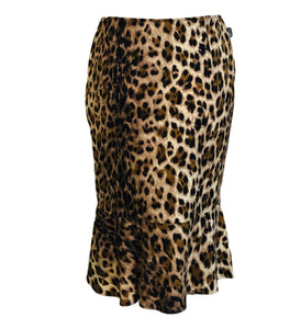 Moschino 90s Leopard Print Stretch Pencil Skirt With Ruffled Hem  FRONT 1 of 5