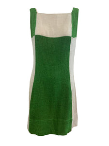 60s Color block Green and White Mod Mini Dress FRONT 1 of 4
