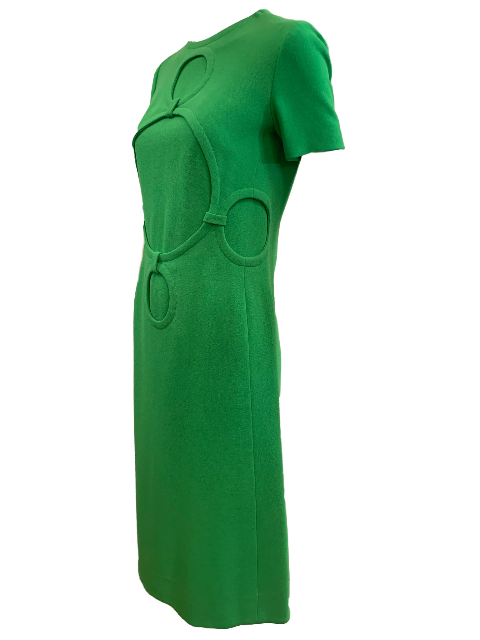 Balmain couture 60s Dress Lime Green Mod SIDE 2 of 5