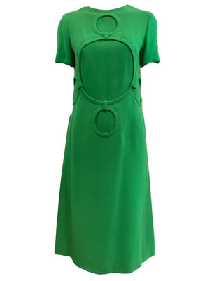 Balmain couture 60s Dress Lime Green Mod FRONT 1 of 5