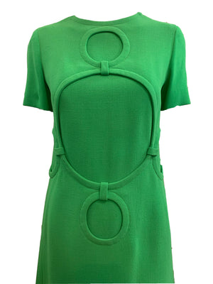 Balmain couture 60s Dress Lime Green Mod CLOS E UP 4 of 5