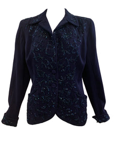 Maxine 40s Navy Blue Beaded Gabardine Jacket FRONT 1 of 5