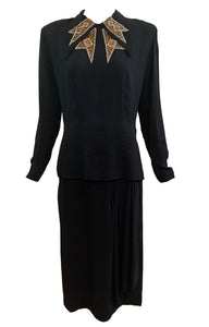 Mil-Jay 40s Black  Noir-ish Crepe Dress with Beaded Collar Front 1 of 4