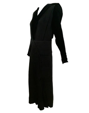 30s Couture Finish Dress Black Velvet Self Pleated SIDE 2 of 4