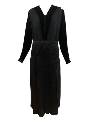 30s Couture Finish Dress Black Velvet Self Pleated FRONT 1 of 4