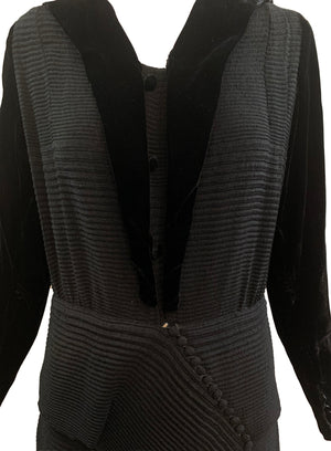 30s Couture Finish Dress Black Velvet Self Pleated CLOSE UP 4 of 4