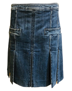 Chanel 2007 Denim Open Pleated Denim Mini Skirt  FRONT 1 of 5