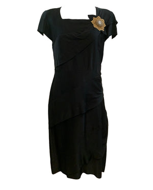 40s Dress Black Crepe Noir with Medallion FRONT 1 of 4