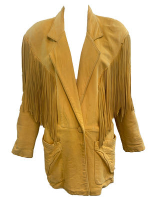 Continental 80s Leather Fringed Oversized Distressed Jacket FRONT 1 of 5