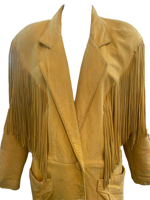 Continental 80s Leather Fringed Oversized Distressed Jacket CLOSE UP 4 of 5