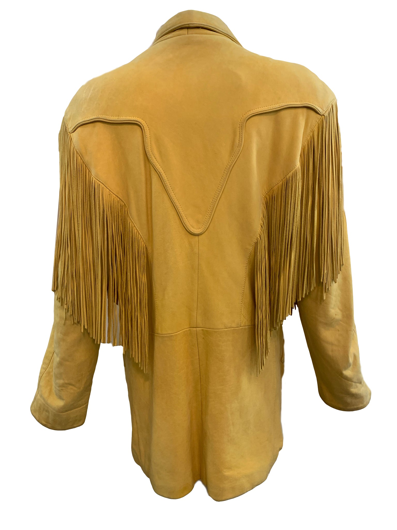 Continental 80s Leather Fringed Oversized Distressed Jacket BACK 3 of 5