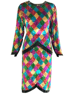 80s Rainbow Sequin Harlequin Ensemble FRONT 1 of 5