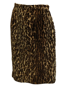 60S Leopard Faux Fur Pencil Skirt 1 of 3