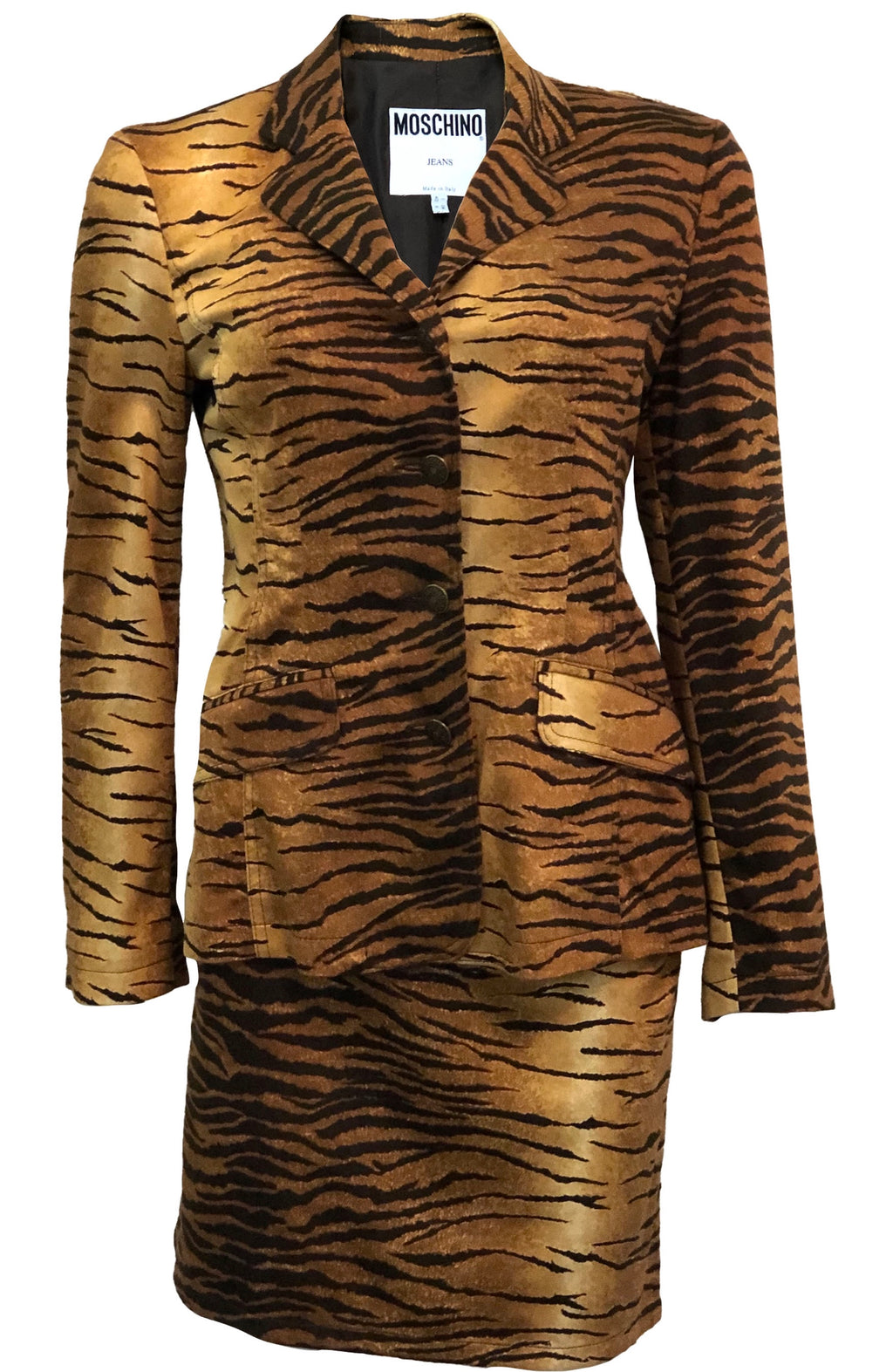 Moschino 90s Tiger Print Mini Skirt Suit FRONT 1 of 4