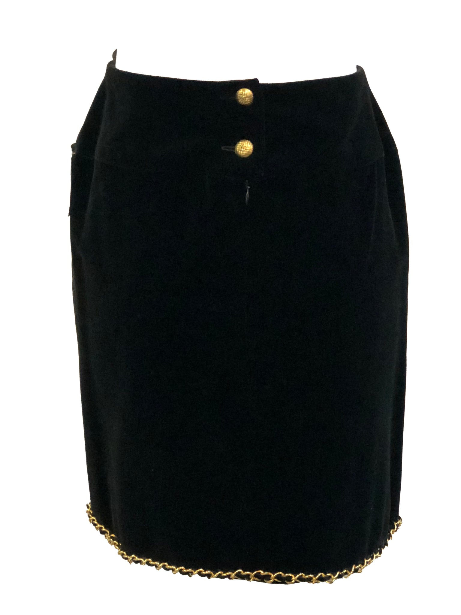 Chanel Black Velvet Mini Skirt with Gold Chain BACK 3 of 4