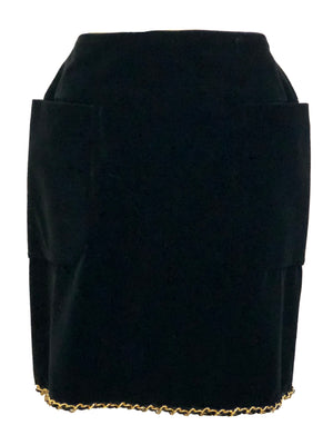 Chanel Black Velvet Mini Skirt with Gold Chain FRONT 1 of 4