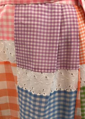 70s Midge Grant Pastel Patchwork Summer Ensemble DETAIL 4 of 5