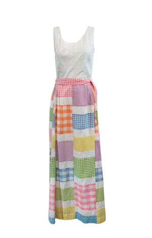 70s Midge Grant Pastel Patchwork Summer Ensemble FRONT 1 of 5